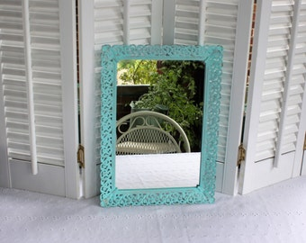 Aqua mirrored tray- Free Shipping