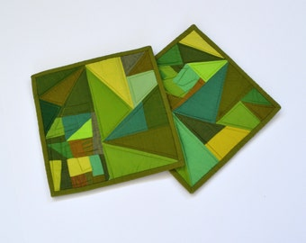 Green Quilted Pot Holders, Green Pot Holders, Modern Kitchen Decor, Green Pot Holders,  Green Hot Pads, Hostess Gift