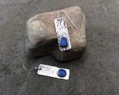 Sea glass jewelry,  Bezel set sea glass and sterling silver earrings