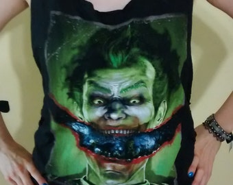 The Joker  Shredded T Shirt - Braided - Woven OOAK