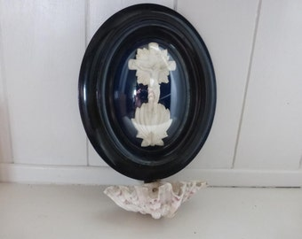 Antique Meerschaum Holy Water Font French Napoleon III Original Frame Signed GF Depicting Christ