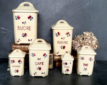 French antique set of 6 kitchen canisters.1920s.Kitchen containers.Box .Kitchen storage.French canisters Shabby chic