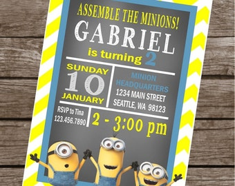 DESPICABLE ME MINION Inspired Happy Birthday or Baby Shower Happy Birthday Party Invitations - Set of 12 {1 Dozen} - Party Packs Available
