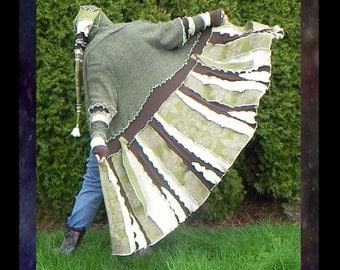 Patchwork elf coat, pixie sweater, boho hippie jacket, handmade beautiful from upcycled knits. Irish moss theme in greens and creams. Size3x