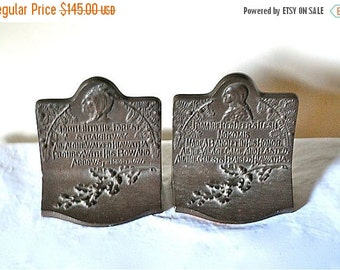 ON SALE Hiawatha and Nokomis Bradley and Hubbard 1920s Bookends, Pair