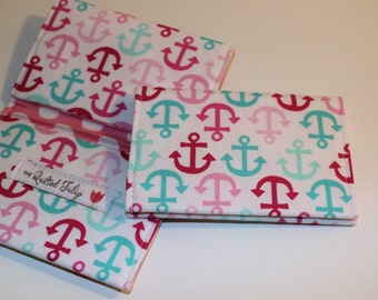 Card Wallet - Pink and Aqua Anchors - Credit Card Holder, Student ID, Gift Card, Fabric Card Wallet