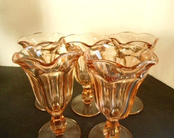 Set of 5 Ice Cream Parlor / Soda Fountain Short Pedestal Fluted Pink Depression Tulip Glasses circa. 1950s Home and Living Kitchen Dining