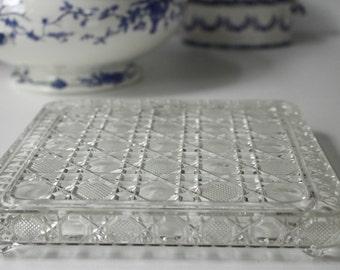 "French Vintage Glass Trivet/Pot Stand..8.1/2"" x 8.1/2""...Hobnail Pattern...Excellent Condition..."