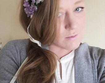 Handmade bridal real dried floral flower crown asymmetrical purple statice natural nature hair wreath wedding garden flower girl adjustable