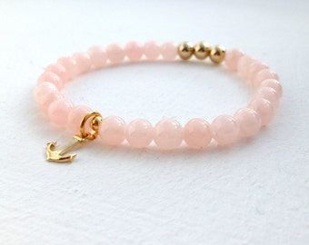 Agate bracelet with a small Golden anchor