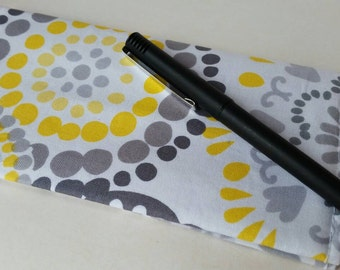 Checkbook Cover- Grey and yellow