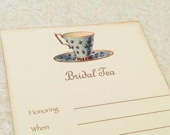 Fill in Blank Invitations-Tea Party Bridal Tea Invitations-Bridal Shower Teacup Floral Invitations