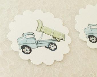 Construction Stickers-Blue Dump Truck Stickers-Boy Birthday Shower Stickers-Set of 12
