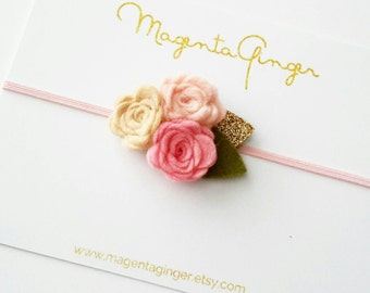Tripple rose headband with a hint of vintage feel. Blush, Pink, Fawn & Golden Glitter and Green Felt leaves- can be made in any color combo