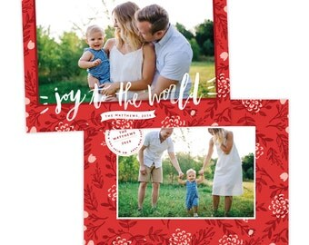 INSTANT DOWNLOAD - Christmas Holiday Card Photoshop template - e1363