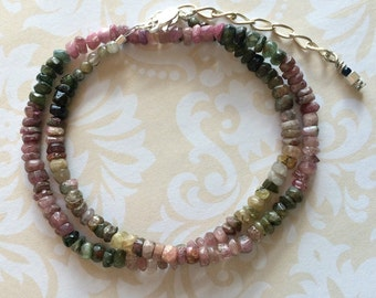 Tourmaline Tiny Faceted Chip Choker Necklace, Rainbow Tourmaline Necklace, Tourmaline Necklace, Tourmaline Choker, Watermelon Tourmaline