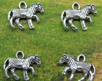 Zebra Charm, 8 Charms, Antique Silver Tone 15 x 11 mm 3D U.S Seller - ts963