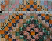 """Vintage 14"""" Quilt Block, Hand Pieced Feedsack 1 Inch Squares"""