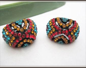 Rhinestone Earrings - Bright Multicolor - Clip Ons 70's