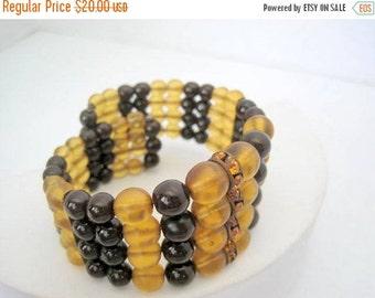 Bead Wire Bracelet - Topaz Rhinestone Wrap Bracelet