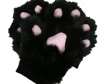 Handmade Black Faux Fur Paws Gloves Cosplay Furries Fursuit