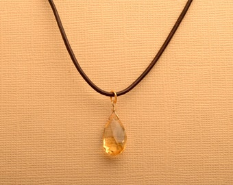 Citrine Necklace, November Birthstone Necklace, Leather Necklace,  Summer Necklace, Gemstone Leather Necklace