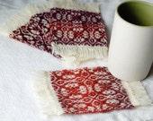 Handwoven Coaster, Mug Rugs, Single Handspun Wool Coaster, Colonial Coaster