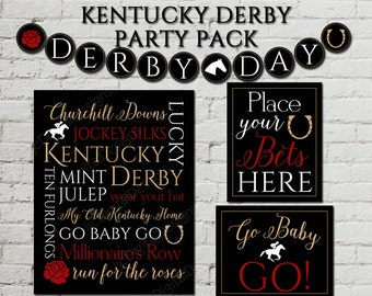 Kentucky Derby Party Pack Decorations Decor Digital Printable Subway Art Banner Bunting Poster Sign - INSTANT DOWNLOAD