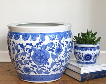 Large Vintage Chinese Fishbowl Planter Blue White Ceramic Chinoiserie Planter Cachepot *As Found*