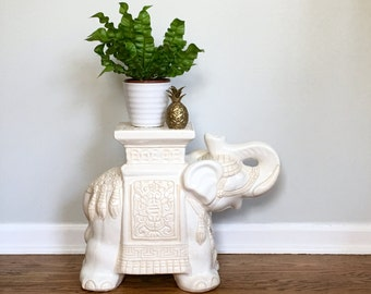 Vintage Elephant Garden Stool Washed Ceramic Table Plant Stand Warm White Ivory Cosmopolitan Chic