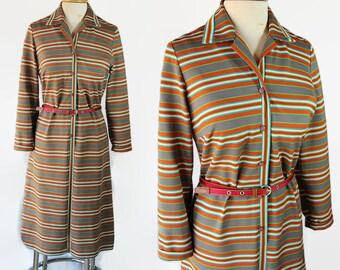 SALE 70s Dress / Nelly Don / Office Fashion / Shift Dress / Stripes / Rainbow / Plus Size