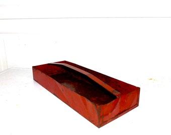 Vintage Tool Box Tote Red Metal Tray Tools Vintage Metal Decor Garden Tote 1