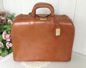 Glad-O-Zip Suitcase / Luggage - Top Grain Cowhide USA - All Leather Over Night Bag Initials J.L.S.