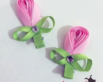 Pink Tulips Rhinestone Hair Bows Hairbows (Set of 2)