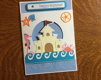 Happy Summer Card / Ocean Beach Theme Card Sand Castle Crab Seahorse Seashells Sea Shells Handmade Card