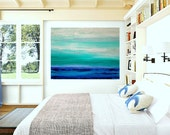 art & collectibles, Original Paintings,  Acrylic, Canvas, Large Abstract Painting  Original Ora Birenbaum Titled: Ocean Blues 36x48x1.5""