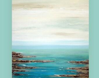 "Art Abstract Beach Acrylic Large Abstract Painting Original Art on Canvas by Ora Birenbaum Titled: Retreat 3 36x48x1.5"""