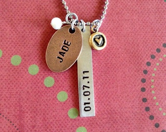 Trendy oval mixed metal tag necklace personalized