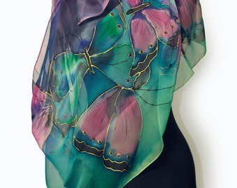 Buterfflyes in blue/Hand painted silk chiffon scarf/Luxury silk scarf/Woman silk gift/Painted byhan blue green rose scarf/Hand painted/S0207