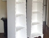 Pair of White French Country Tall Display Bookcases RESERVED FOR CARI