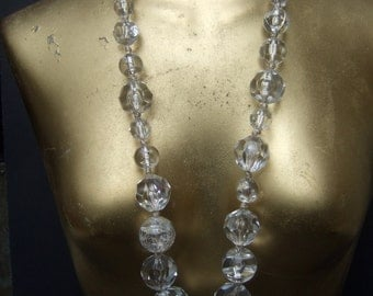 Dramatic Long Lucite Faceted Statement Necklace