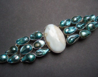 Sterling Artisan Mother of Pearl Oval Stone Bracelet
