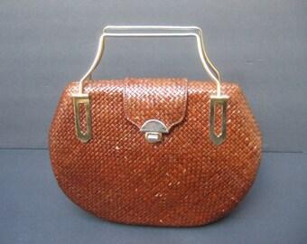 Stylish Woven Brown Raffia Wicker Handbag c 1970s