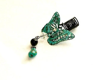 Dreadlock Jewelry - Painted Turquoise 3D Butterfly, with Swarovski Crystal, Turquoise and Onyx Gemstones Loc Jewel