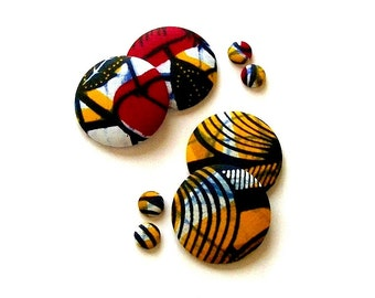 Button Fab - African Wax Print Fabric Buttons and Studs