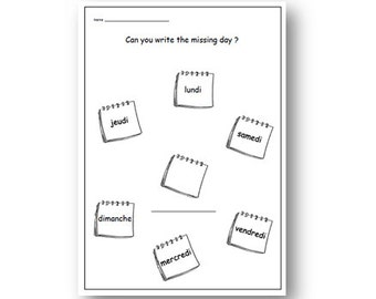 FRENCH WORKSHEETS about the Days of the Week,Primary French,Education French,French for Beginners,French for Children,French Language