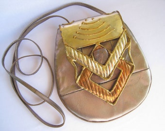 SALE Purse has Large Artisan Geometric Metalwork Coverplate in Silver, Copper & Brass.  Leather. Strap Adjusts. 1980's.