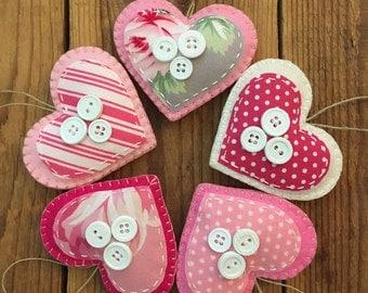 Pink Felt Heart Ornaments -set of 5