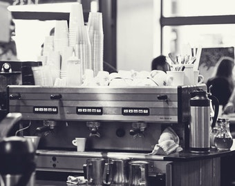 Food Photography - Kitchen Art - Coffee Photo - Espresso - B&W Coffee Photo - Fine Art Photography Prints - Kitchen/Dining Room Decor