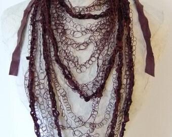 Crochet Burgundy Leather & Silk Thread Designer Necklace